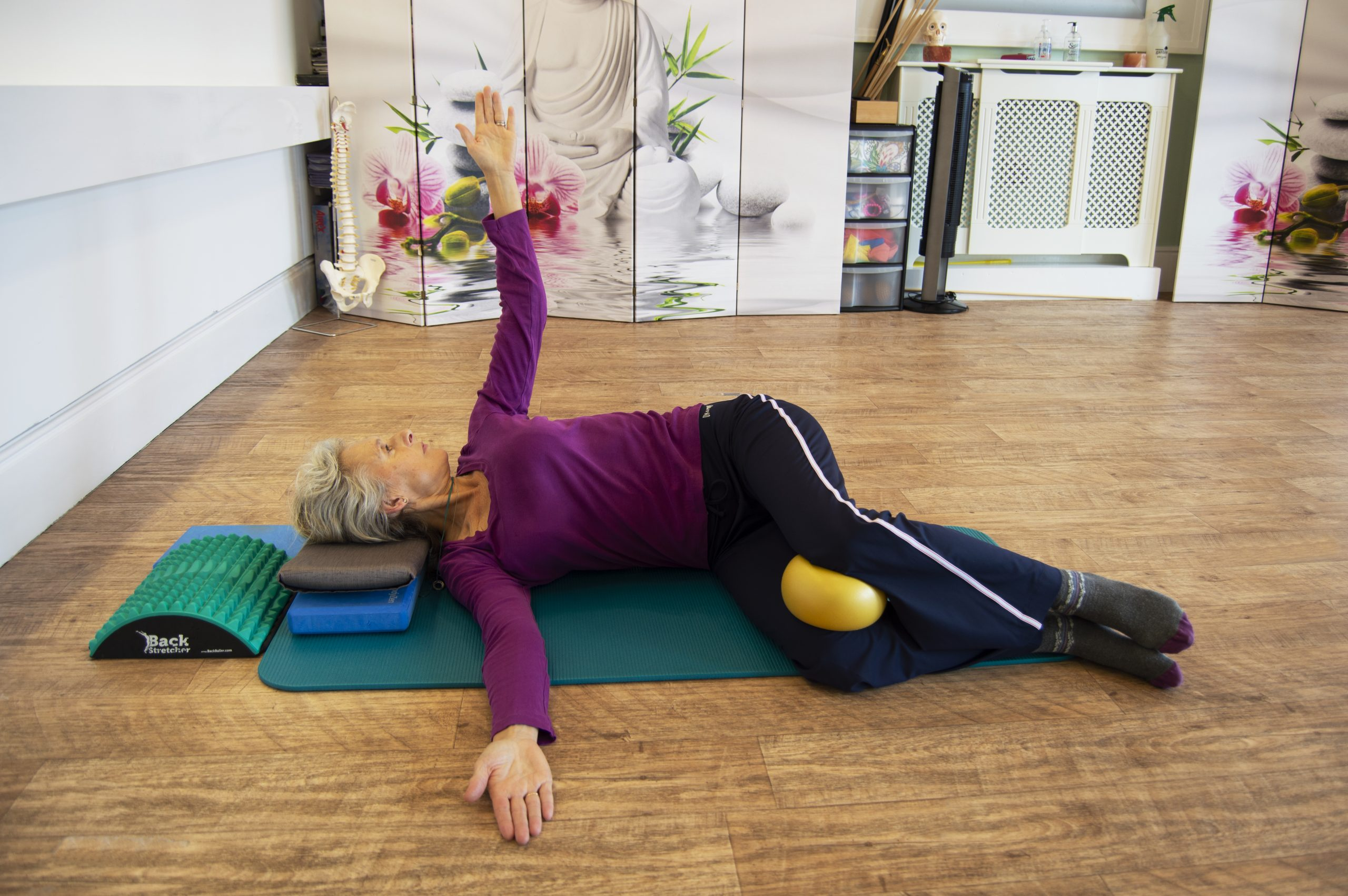 Pilates move, demonstrated by Tracey Job