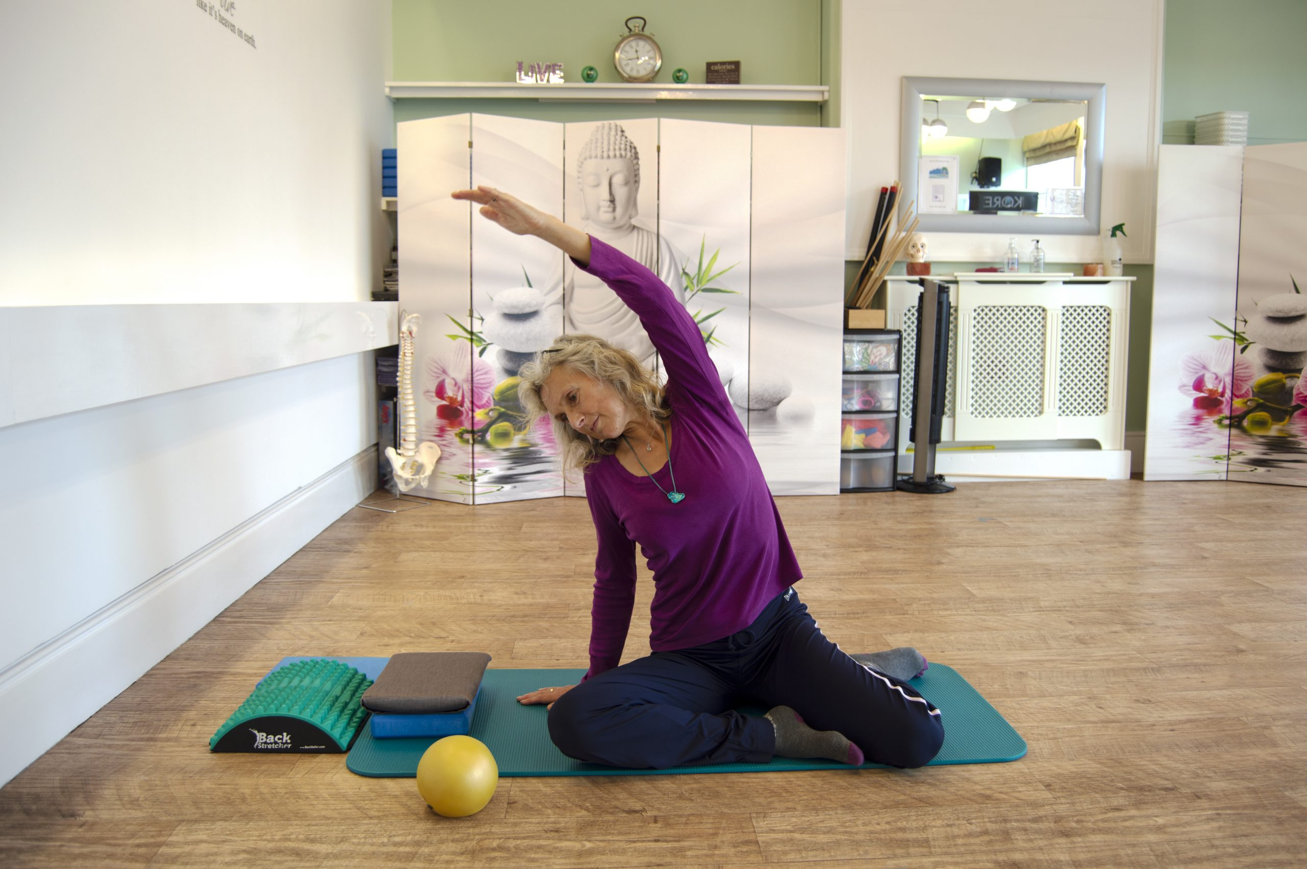 Tracey Job, Pilates Instructor, demonstrating a Pilates position