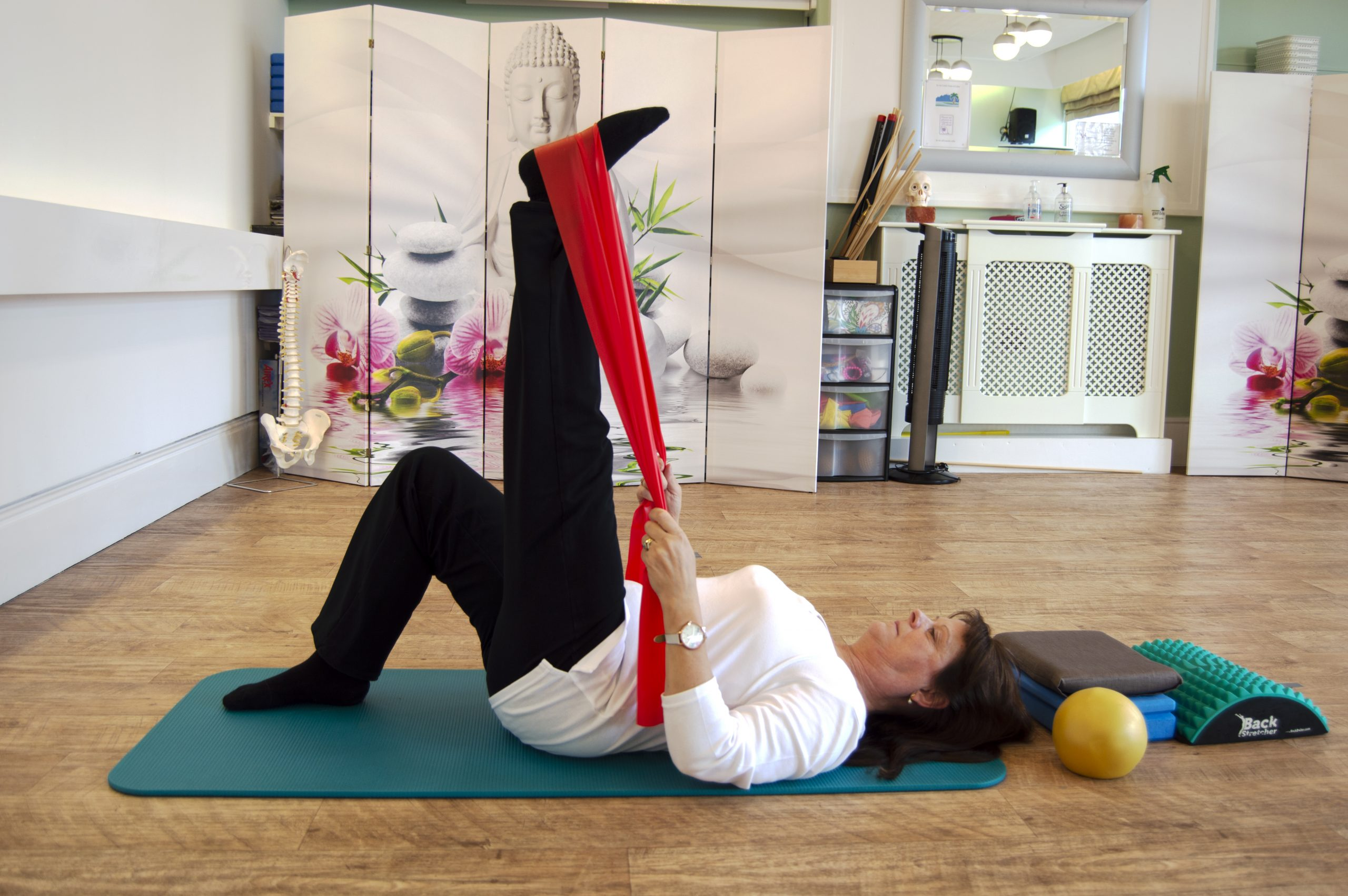 Angie Appleton demonstrating Pilates in the Pilates Studio
